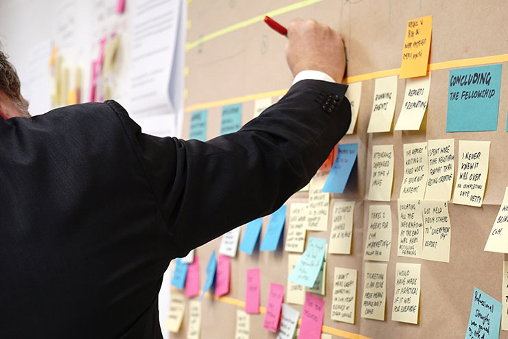 project planning using post-it notes